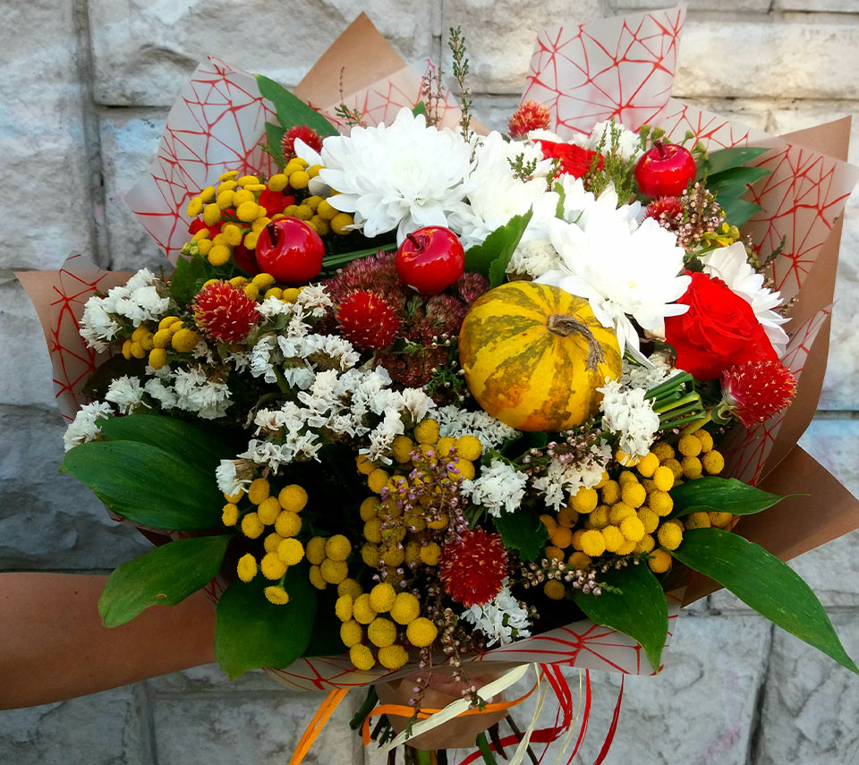 букет з гарбузом | flower-power.rv.ua