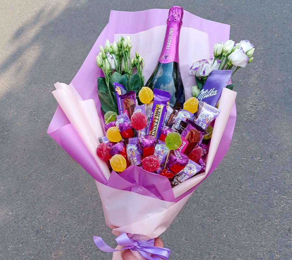 букет з цукерками | flower-power.rv.ua