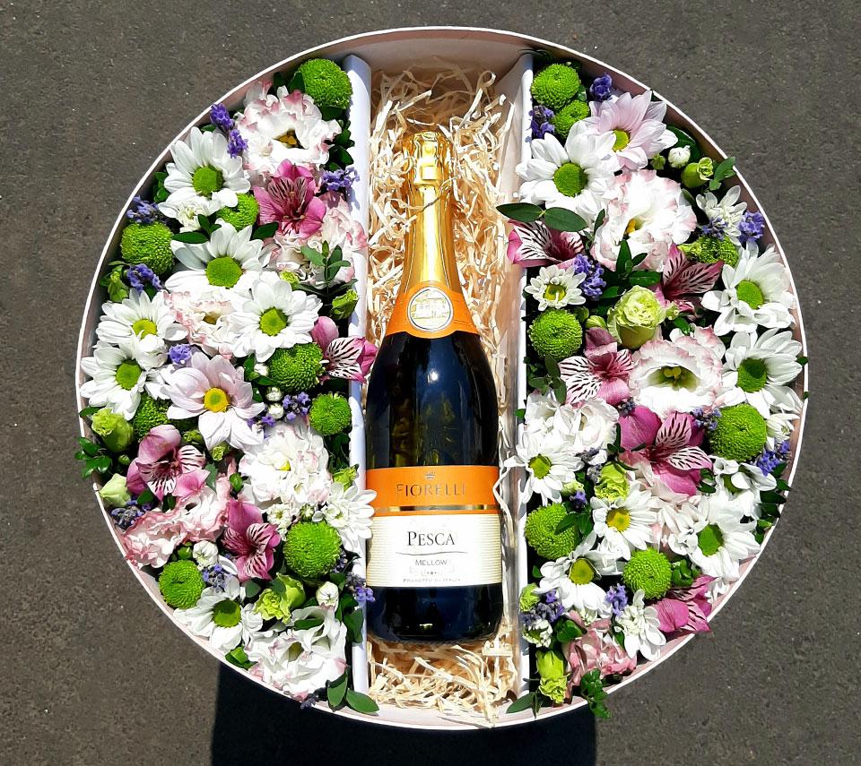 коробка з шампанським | flower-power.rv.ua